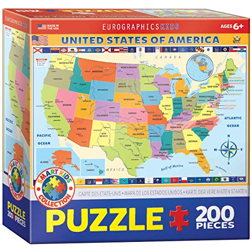 Map Of the United States Of America 200 Piece Puzzle For $6.99 Or Map Of The World 78 Piece Puzzle For $8.50 From Amazon