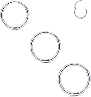 18G Stainless Steel Hinged Septum Clicker Ring Lip Nose Hoop Ring Helix Daith Cartilage Tragus