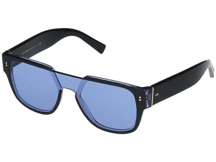 Dolce and Gabbana  DG4356 (Black On Transparent Azure/Light Blue) Fashion Sunglasses