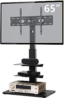 TVON テレビスタンド 壁寄せテレビスタンド 32-65インチ対応 液晶テレビ台 耐荷重50kg ラック回転可能 高さ調節可能 ハイタイプ TVスタンド 棚付き LCD/LED/OLED/PLASMA対応 VESA600*400mmまで ブラック