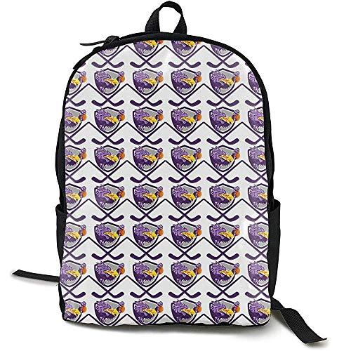 School Bag,Ice Hockey Ball Schläger Dragon Purple White Daypack Beeindruckende Schülerrucksäcke Zum Klettern Wandern Reisen