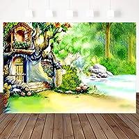 家の装飾ポートレート写真ポートレートカーテン写真背景 妖精の木の家 背景背景写真撮影パーティー写真ブース折りたたみ 春 ビニール写真ビデオスタジオ新生児シャワー写真撮影背景バナースタジオ小道具 水彩花蝶