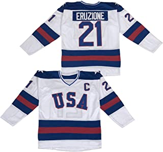 Men`s 1980 Olympic Game Team USA 17 Jack O`Callahan 21 Mike Eruzione 30 Jim Craig Miracle On Ice Hockey Jersey Stitched