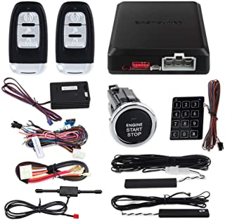 $121 » EASYGUARD EC002-LB-NS Rolling Code car Alarm System with Passive keyless Entry Push Start Stop Button Touch Password Entry...