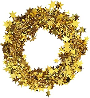 Gold Tinsel Stars Brace Star Tinsel Wire Garland for Home Wedding Birtahday Party Decorations 26 Ft x 2