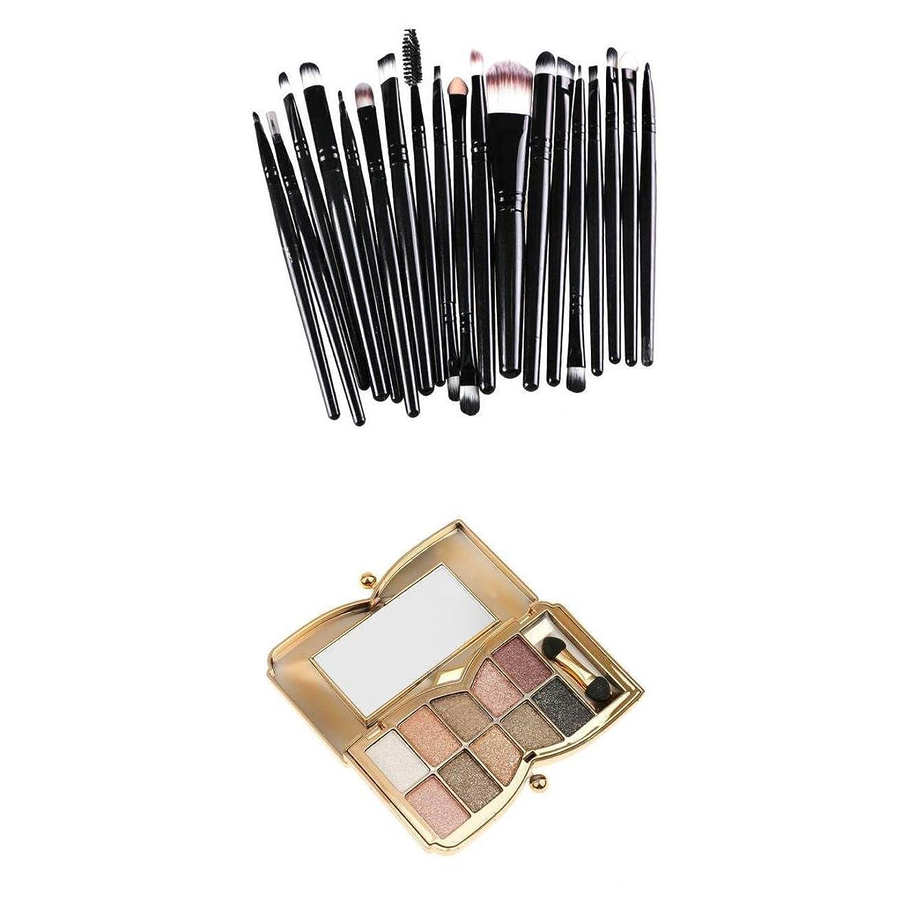 Fenteer 10色 アイシャドーパレット コスメパレット 約21本 メイクブラシ 化粧ブラシ メイクアップ ファッション 美しい メイク 魅力的
