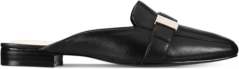 Alfani Womens Aidaa Leather Square Toe Mules, Black Leather, Size 7.0