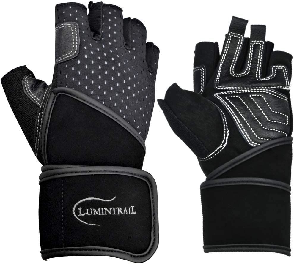 2020 Lumintrail Weight Lifting Gloves Leather Padded Good Grip W