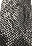 Vinyl Fabric Black Faux Viper Snake Skin Vinyl-Faux Leather - 3D Scales Upholstery - Sold by The Yard.