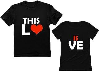 Camisa de Pareja con Estampado Love para Hombre y Mujer Camisa de Manga Corta Verano Deporte Baratas Sudadera con Estampad...