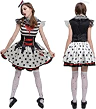 Crazy Clown Womens Halloween Costume with Headwear Neckwear and Waist Strap Circus Outfit Adult Cosplay Costume Creepy Cir...