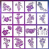 LYPER Juego de 16 plantillas de hojas de flores de 7,9 x 7,9 pulgadas, plantilla de rosas para primavera y verano, plantilla reutilizable para pintar en paredes de madera, accesorios para el hogar