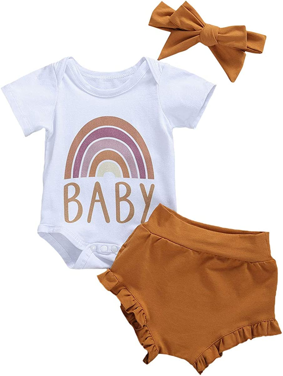 Excellent Newborn Our shop OFFers the best service Baby Girls Rainbow Print Shorts Set Pants Romper Clothes