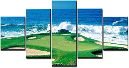 Pebble Beach Golf Course-California, USA Wall Art Canvas Prints Wall Decor Picture 5 Panel Blue Sky Sea Golf Course Coast Decorations for Home Office Framed Stretched Ready to Hang(60''Wx32''H)