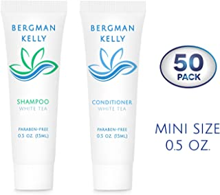 BERGMAN KELLY Travel Shampoo and Conditioner Set (0.5 fl oz, 100 Pieces, White Tea), Delight Your Guests with a Revitalizing and Refreshing Hotel Toiletries and Guest Hospitality in Bulk