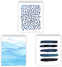 Barri Design Abstract Watercolor Prints Minimalist Art Blue White Home Decor Contemporary Abstract Painting Wall Decor Set of 3 Modern for Living Room Classroom Decor (UNFRAMED)