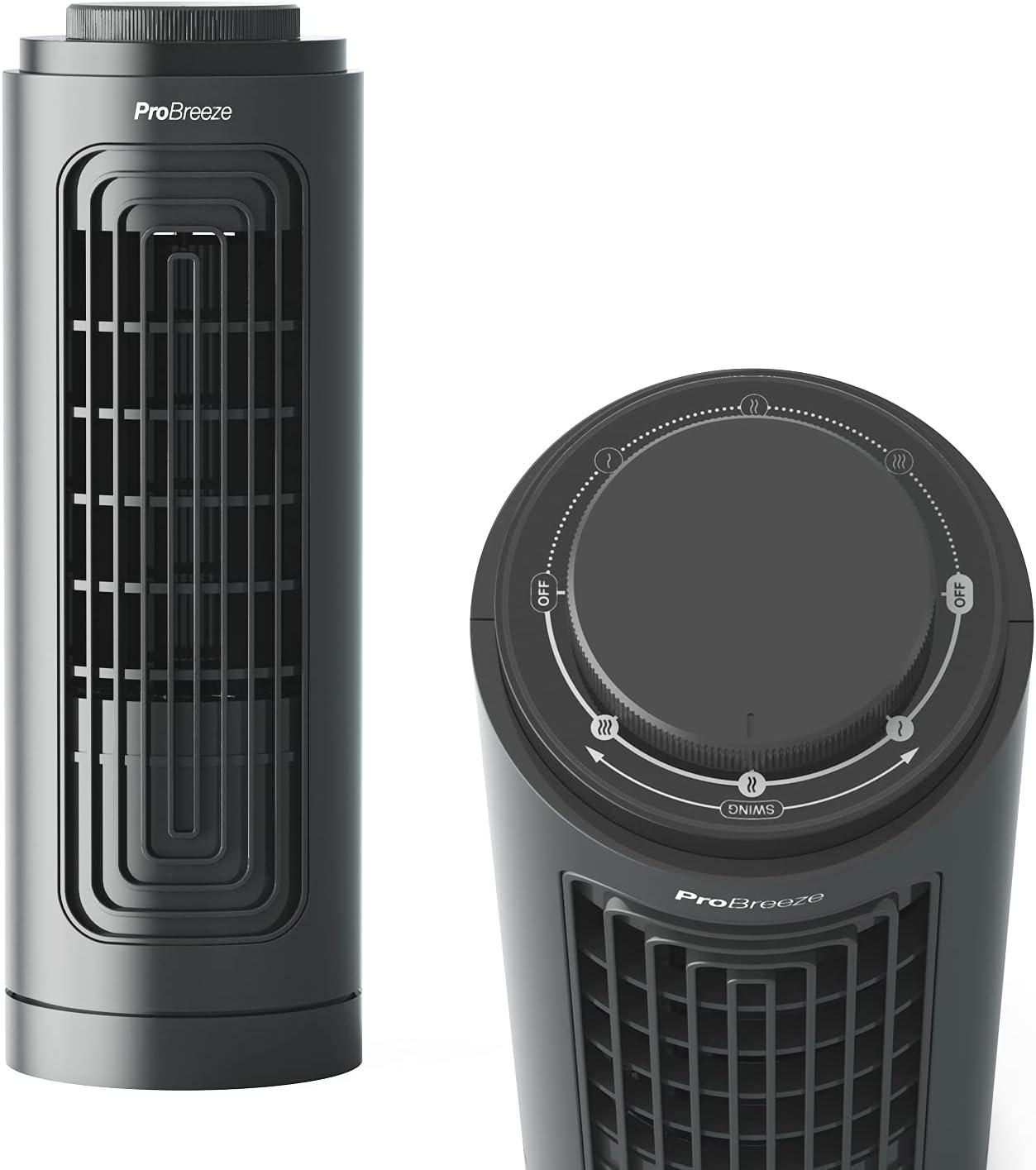 Pro Breeze Ventilador de Torre de Sobremesa de 32,5 cm con 3 Velocidades de Ventilador, Diseño Compacto Portátil, Oscilación Automática y Tecnología de Enfriamiento Silencioso