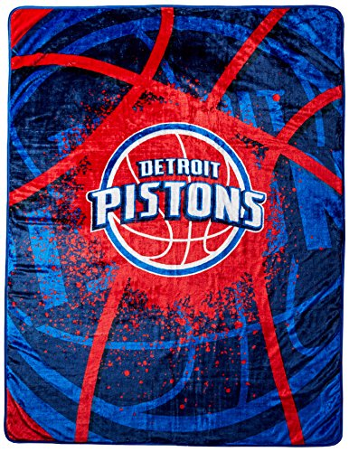 Officially Licensed NBA Detroit Pistons Shadow Play Plush Raschel Throw Blanket, 60' x 80', Multi Color