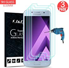J&D Compatible for 3-Pack Galaxy A5 2017 Glass Screen Protector, [Tempered Glass] [Not Full Coverage] HD Clear Ballistic Glass Screen Protector for Samsung Galaxy A5 2017 Screen Protector
