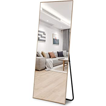 Amazon Com Zhowi Floor Mirror Full Length Large Full Body Size Stand Up Standing Wall Mounted Mirrors Bedroom Bathroom Decor Metal Frame Gold 65x22in Furniture Decor