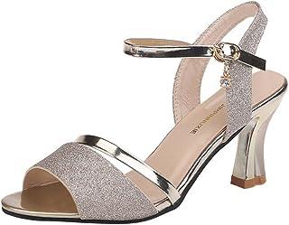 334ef06b8dbfb Overmal Été Paillettes Sandales Talons Conique Femmes Mode Femmes Sandales Chaussures  De Soirée De Mariage Fermeture
