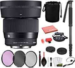 $407 » Sigma 56mm f/1.4 DC DN Contemporary Lens for Sony E Mount (351965) with Bundle Package Deal Kit Includes: Pro Series Monopod, 3PC Filter Kit + More