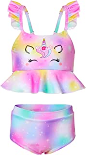 MHJY Girls Unicorn Swimsuit 2-Piece Swimwear Bikini Set Ruffle Beachwear Bathing Suit,5-6X,Colorful
