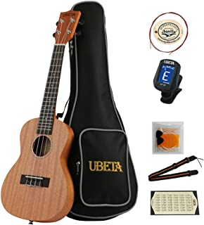UBETA 23 Inches Concert Travel Mahogany Ukulele And Thinbody design with Low G string (6 in 1) Kit: Gig bag, clip-on Tuner, Strings, Picks and Color Strap