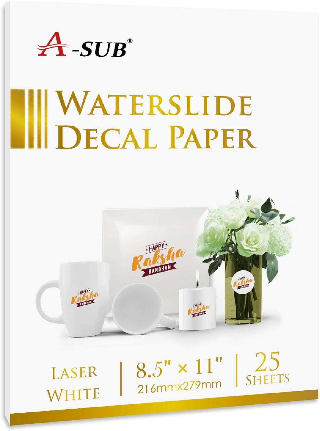 A-SUB Waterslide Decal Paper for 4 years Phoenix Mall warranty Printers 25 White Laser Sheets