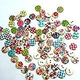 Dos agujeros mezclado pintado colores redondos de madera Botones de costura Scrapbooking DIY Craft (100piezas)
