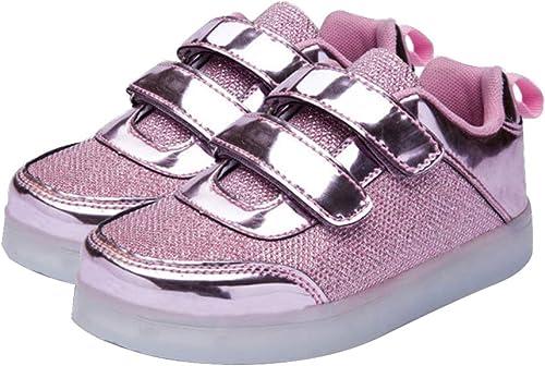 OrGOD Led chaussures légères chez les enfants des Garçons et des filles Couleuré chaussures lumineuses Usb charge Flash baskets Garçon Velcro antidérapant chaussures,rose,35