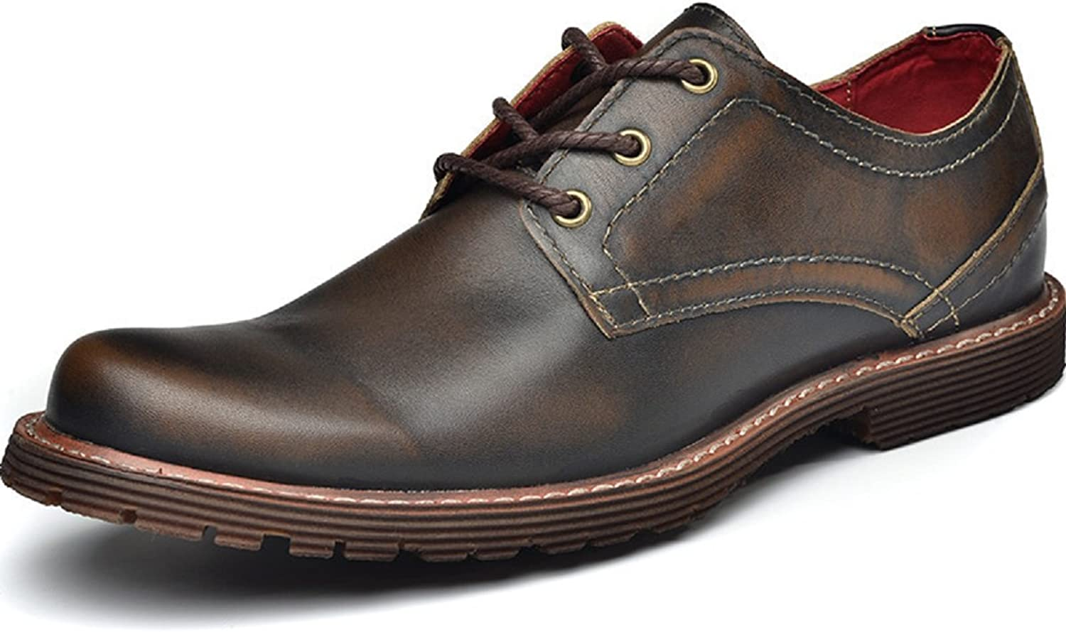 Z.Suo Men's Real Leather Fashion Low Profile shoes Brown color