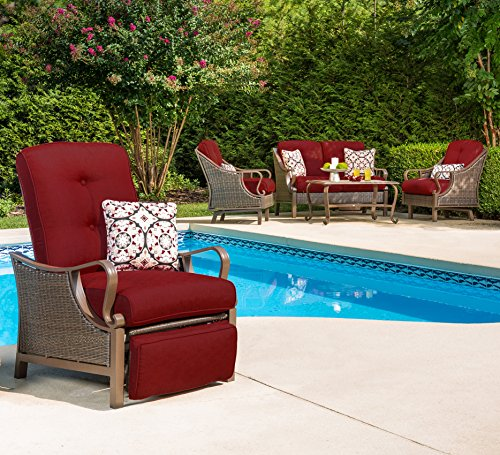 Hanover Ventura Outdoor Patio Recliner with Hand-Woven Wicker, Rust-Resistant Frames, and Thick Crimson Red Cushions, VENTURAREC-RED