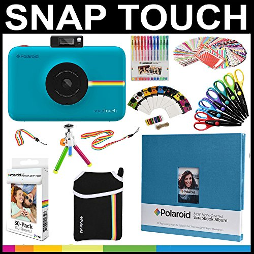 Polaroid Snap Touch Instant Camera Gift Bundle + Zink Paper (30 Sheets) + 8x8 Cloth Scrapbook + Pouch + 6 Edged Scissors + 100 Sticker Border Frames + Gel Pens + Hanging Frames + Accessories, Blue