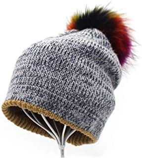 Women's Color Hair Ball Double Wool hat Knitted Wool Cap XGCCDAUu (Color : Gray, Size : 56-58cm)