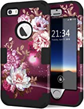 Hocase iPhone SE Case, iPhone 5s Case, Heavy Duty Shockproof Protection Hard Plastic+Silicone Rubber Bumper Dual Layer Full-Body Protective Phone Case for iPhone SE/5s/5 - Royal Purple/White Flowers