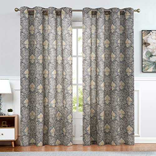 Medallion Print Curtains for Bedroom Kitchen Retro Linen Blend Textured Damask Curtain Panels Drapes Window Curtain Set for Living Room Patio Door 1 Pair 84 Inch Grey