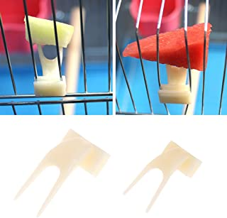 Seaskyer Pet Parrot Fruit Fork, 2Pcs Plastic Parrot Feeding Bird Cage Accessories Birds Food Holder Feeder Device Pin Clip, for Small Animal Feeder