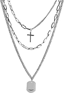 JYH Layered Punk Necklace Long Chain Hip Hop Multilayer Choker Necklace Pendant for Women Girls