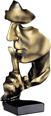 aboxoo Thinker Statue, Silence is Gold Abstract Art Figurine, Modern Home Resin Sculptures Decorative Objects Piano Desktop D
