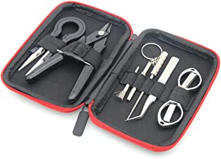 DIY hand tool set 8 in 1 kit Keychain Screwdriver+Diagonal pliers+Tweezers+Folding scissors+Small stainless steel brush+Coil jig with carrying case for home DIY Repairs
