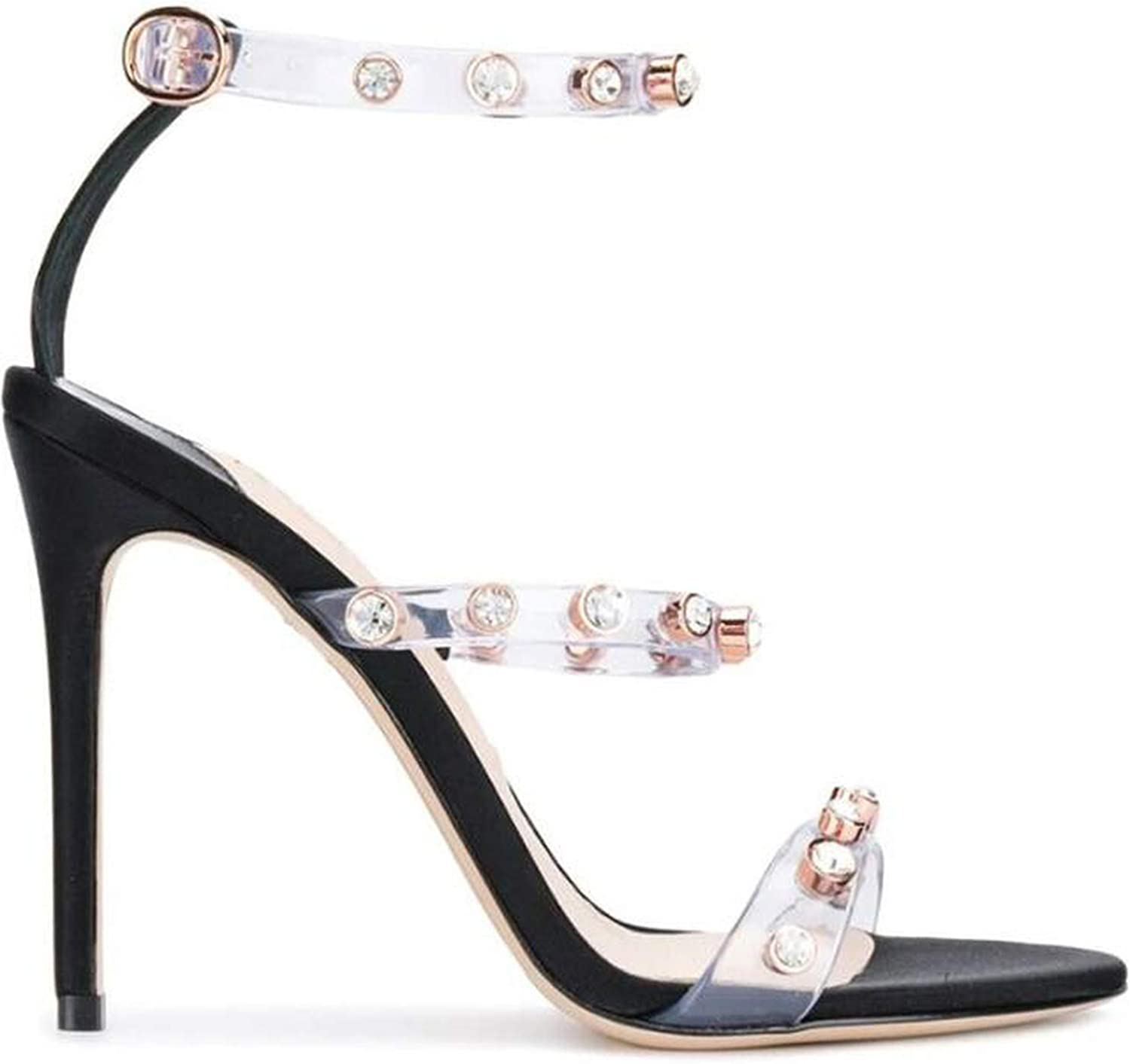 Summer High Heel Sandal Sexy Open Toe Ankle Strap shoes Woman Crystal Rivets Studded PVC Sandal