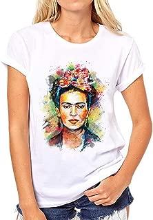 Blostirno Womens Frida Kahlo Personalized Artist Summer Short Sleeve T Shirt White