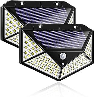 Luz Solar de Exterior, VOICEPTT 2 Mejoradas Paquetes Luces Solares 100 LED, 3 Modos Lámpara Solar Exterior IP65 Impermeabl...