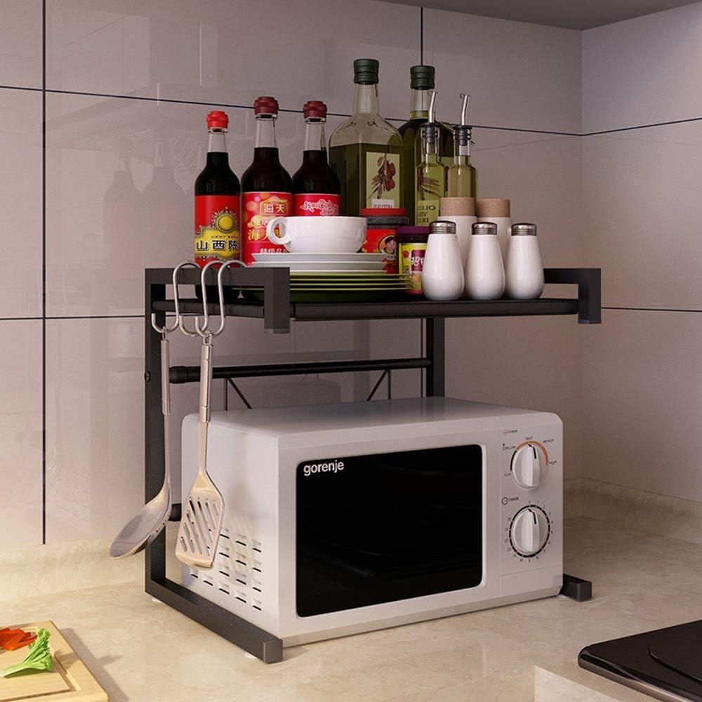 Bcaer Micro-Ondes Micro-Ondes Stent Cadre Peut être élargi et utilisé pour Le Stockage de Plateau Four à Micro-Ondes Cuisine Double 43-60cm,White Black