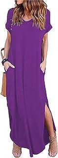 فستان ماكسي طويل للنساء بأكمام قصيرة وفتحة رقبة على شكل حرف V وجيب جانبي عادي