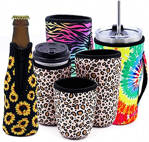 EPRHY Funda aisladora de taza de café, reutilizable, aislante, de neopreno, para botellas de cerveza, juego de mangas aislantes para bebidas