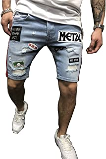 QINGYU Jean Shorts for Men,Summer Fashion Ripped Denim Shorts Blue Distressed Jeans with Hole