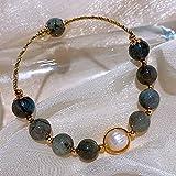 Pulsera de cristal de curación natural para las mujeres Moonstone Bangle Pulsera Joyería de vacaciones Lujosa Chakra Gems Pearl Pearl amuleto para Yin Energy Femininity Gire la suerte en su favor