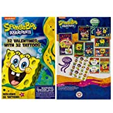32 Count School Valentines Day Illustrated Cards with Matching Stickers or Tattoos (Spongebob Squarepants)